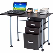 Goplus Folding Computer Laptop Desk Wheeled Home Office Furniture With 3 Drawers Wood Table Modern Workstation Desks HW52805