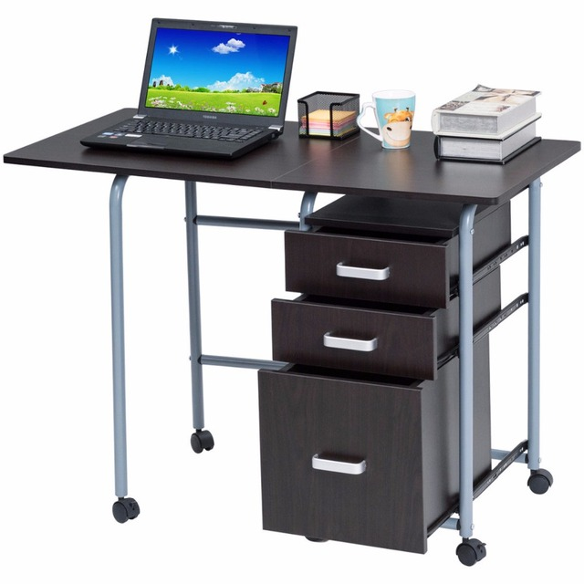 Goplus Folding Computer Laptop Desk Wheeled Home Office Furniture With 3  Drawers Wood Table Modern Workstation
