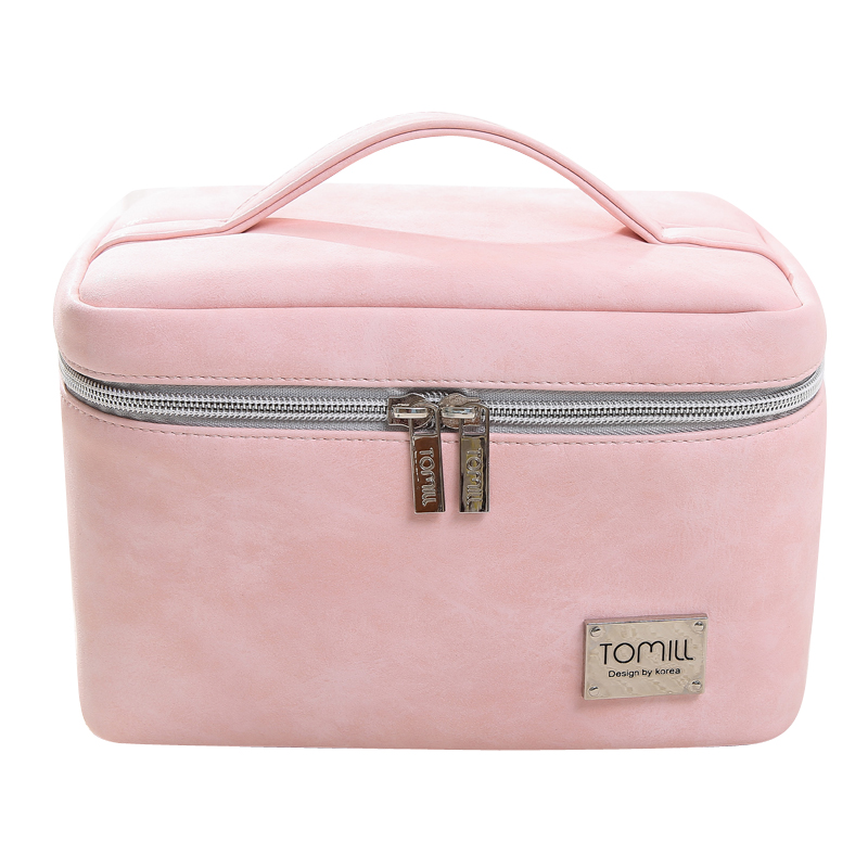 Korean Fashion Women Simple Style Leather Cosmetic Cases Portable Cute Cosmetic Bag Makeup Bag Large Capacity Storage Bag image
