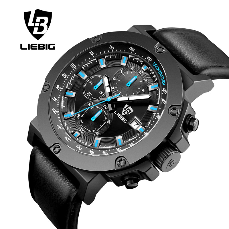 LIEBIG Casual Mens Watches Top Brand Luxury Men's Quartz Watch Sport Waterproof  Wristwatches Men Leather Relogio Masculino 1018 liebig luxury brand sport men watch quartz fashion casual wristwatch military army leather band watches relogio masculino 1016