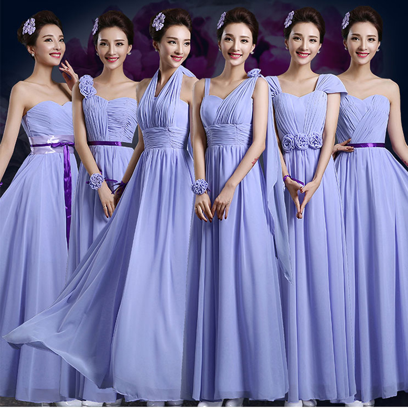 Purple bridesmaid dresses One Shoulder Cheap Long Chiffon floor ...