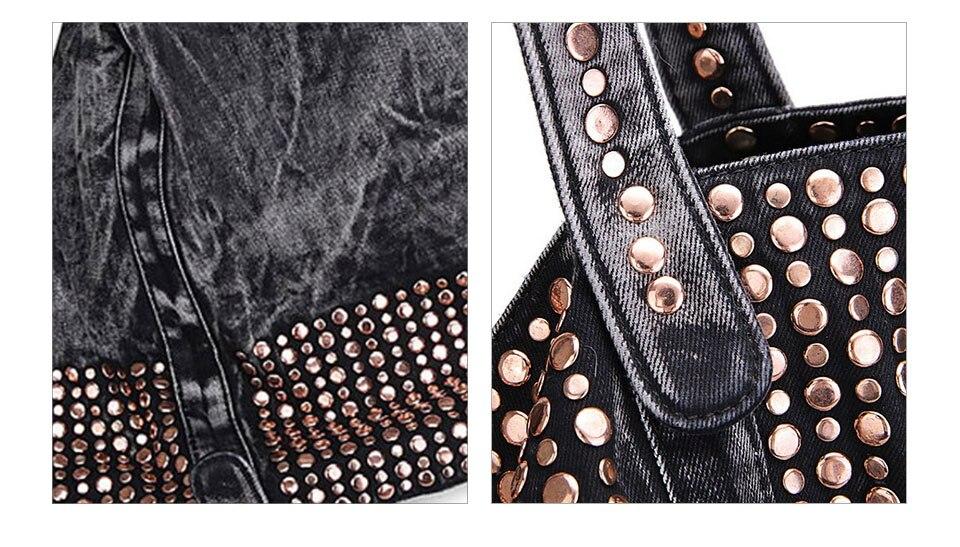studs saco de luxo senhora bolsas jeans