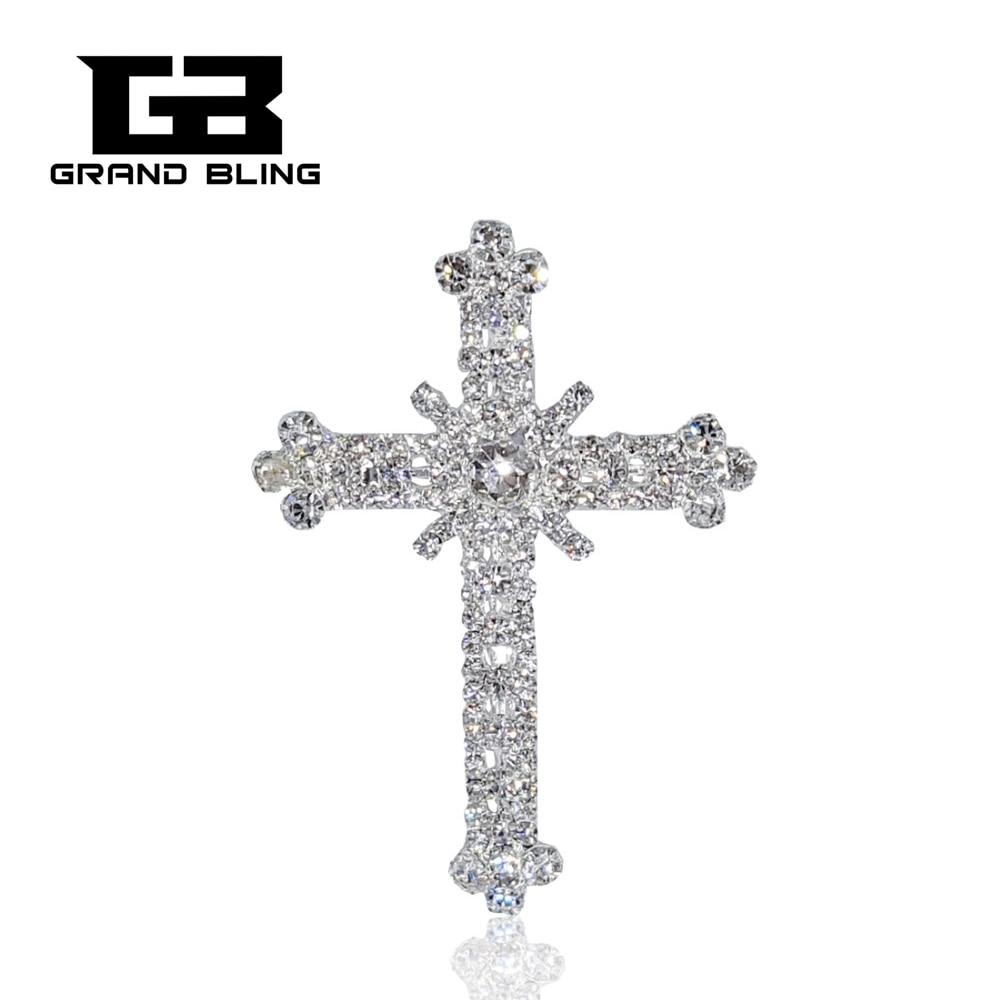 Latest Design hot Fashion Rhinestone Cross Brooch jewelry silver luxury brooches pins Accessories