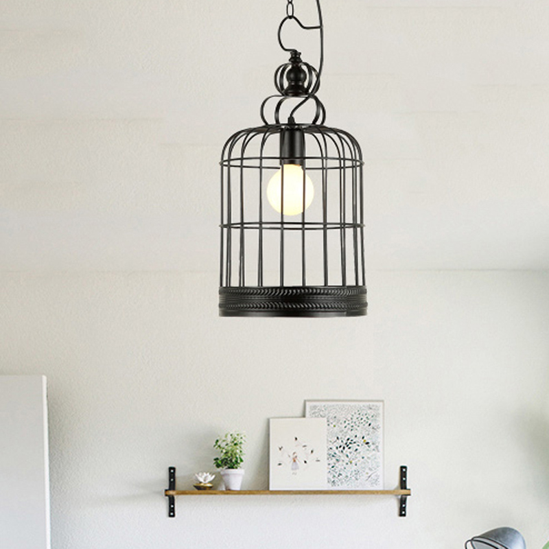 Loft iron pendant lights retro Restaurant Bar Cafe hone lighting lamp industrial wind black cage pendant lamp ZA GY4 lo1020 vintage iron pendant light loft industrial lighting glass guard design cage pendant lamp hanging lights e27 bar cafe restaurant