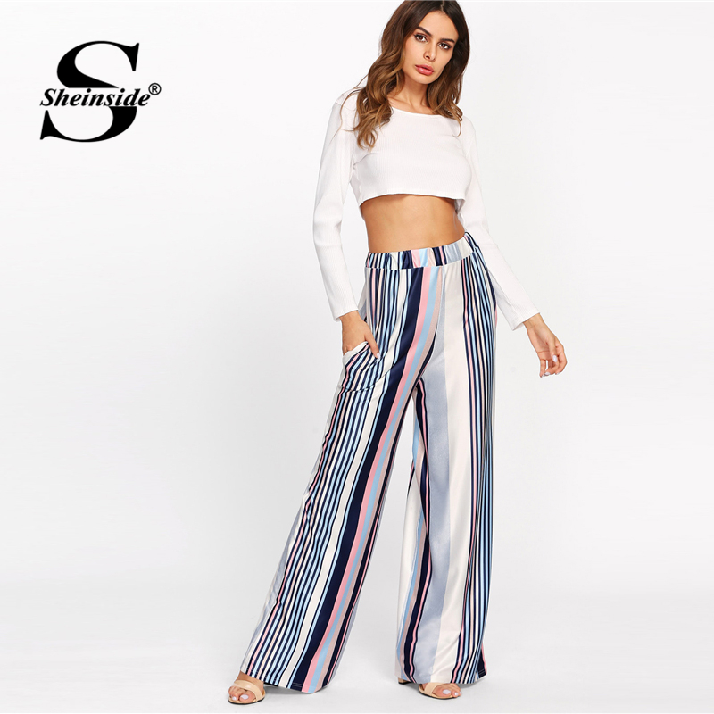 Sheinside Vertical Stripe Wide Leg Pants Mid Waist Loose Trousers Women Summer Ladies Multicolor OL Workwear Pants