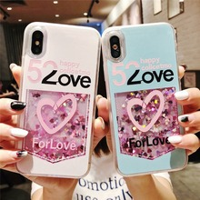 ФОТО transparent love heart dynamic liquid glitter sand quicksand phone case for iphone x 6 6s 7 8 plus 7plus 8plus cases cover funda