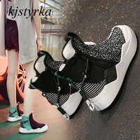 Kjstyrka 2018 zapatillas mujer fashion high top personality mixed colors tenis feminino breathable women sneakers espadrilles