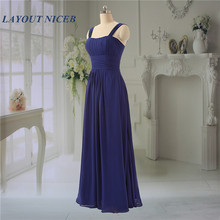 Simple Chiffon Bridemaid Dresses 2019 Pleat vestido longo Dress for Wedding Party Royal Blue Shoulders sabiye gece elbisesi