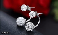 silver plated fashion U bend earring shiny Shambhala ladies`stud earrings jewelry