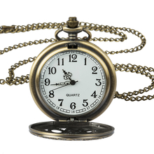Antique Copper Steampunk Vintage Hollow Bronze Gear Hollow Quartz Pocket Watch Necklace Pendant Clock Chain Men's Women цена