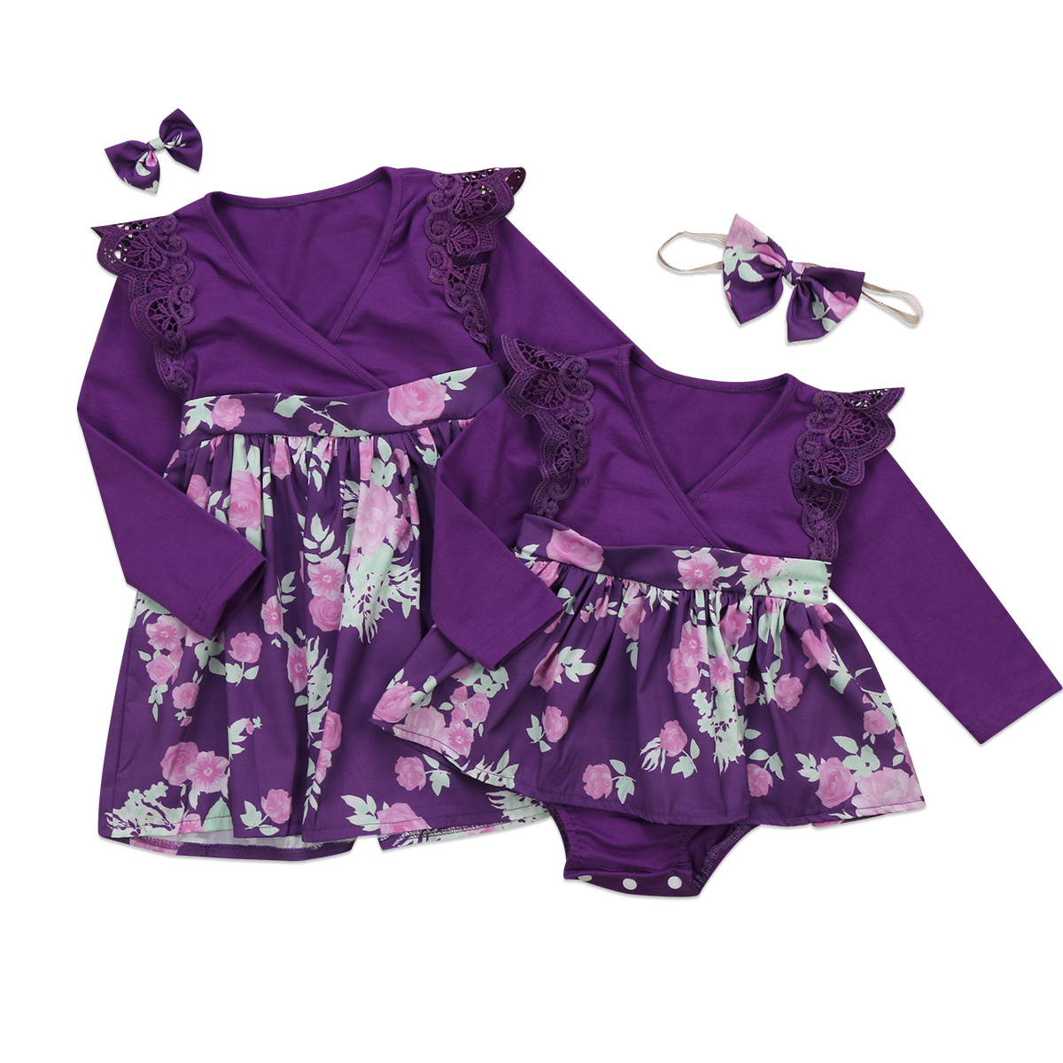 Efficient Pudcoco 2017 Newborn Baby Girls Family Romper Dress Purple Flying Sleeve Matching Outfits Patchwork Bowknot Clothes Selected Material Mother & Kids
