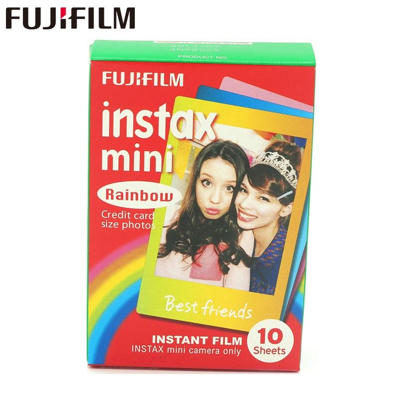 Ekte Fujifilm Instax Mini 8 Film Rainbow Fuji Øyeblikkelig fotopapir 10 ark i 8 50s 7s 90 25 kameraer