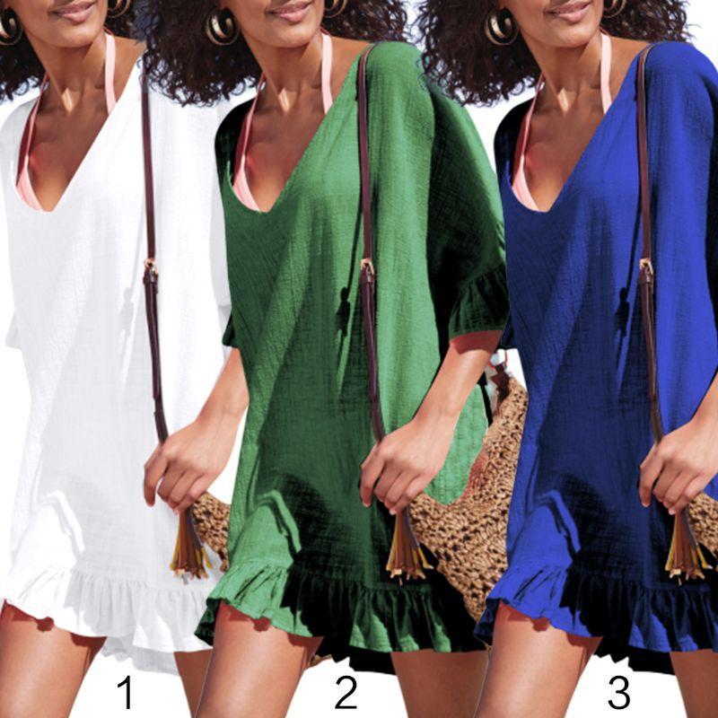 Blouses & Shirts Womens Summer Slub Cotton Half Sleeves Mini Dress Solid Color Sexy Deep V-neck Semi-sheer Bikini Cover Up Ruffles Flounce Trim O