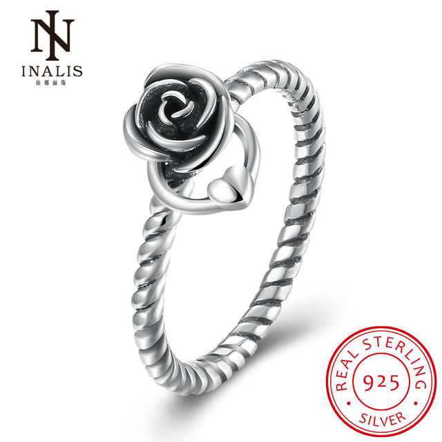 INALIS 925 Sterling Silver Rose Flower Ring Cute Heart Rings For Women Jewelry Festival Gift