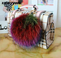 Zalzyywb grote 13 CM pom pom charm hand tas pon pon bugs auto sleutelhanger ring multi kleuren hanger decoratieve super leuke wasbeer bont