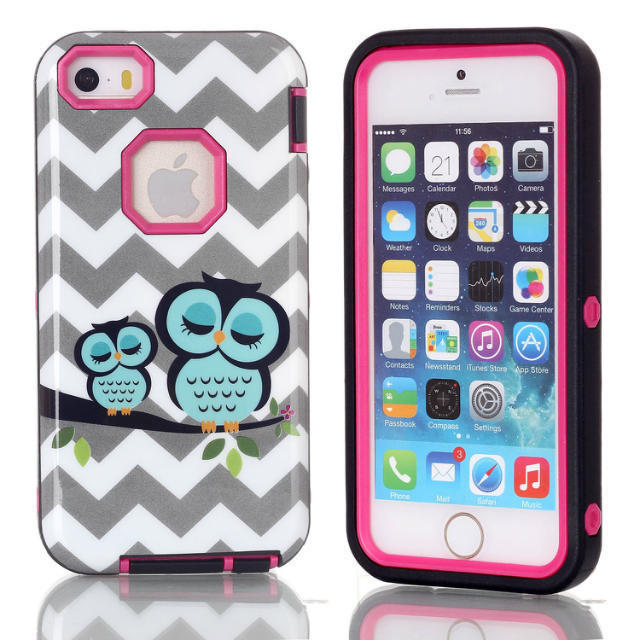 IQD For iPhone SE 5 5s Cover Owl hybrid case for apple 3 in1 Design shockproof