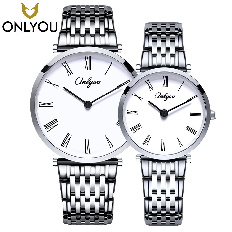 ONLYOU Lovers Watches Men Business Luxury Watch Women Fashion roman number dial Ladies Dress Casual Quartz Clock Wholesale onlyou ceramic fashion watch women luxury white strap quartz wristwatch casual ladies bracelet dress watches lovers clock unique