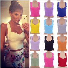 950480fa03a7cb women elastic bandage top vest solid candy color v-neck spaghetti strap tight  cute sweet