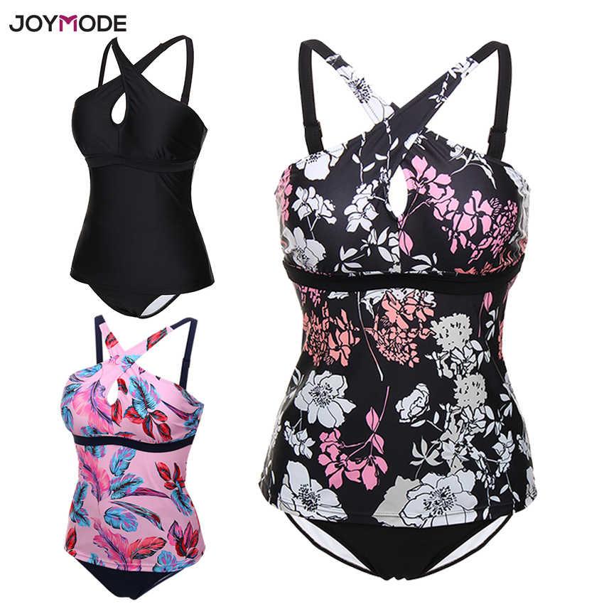 9fbbc3f8618a7 ... JOYMODE Women Plus Size Swimsuit 2018 Swimwear Two Piece Swim Bathing  Suit Tankini Cross Black Bikini ...