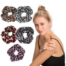 Velvet Leopard Print Hair Accessories Female Rubber Band Soft for Women Winter Ponytail Headwear Hair Rope Scrunchie Ring Girls(China)