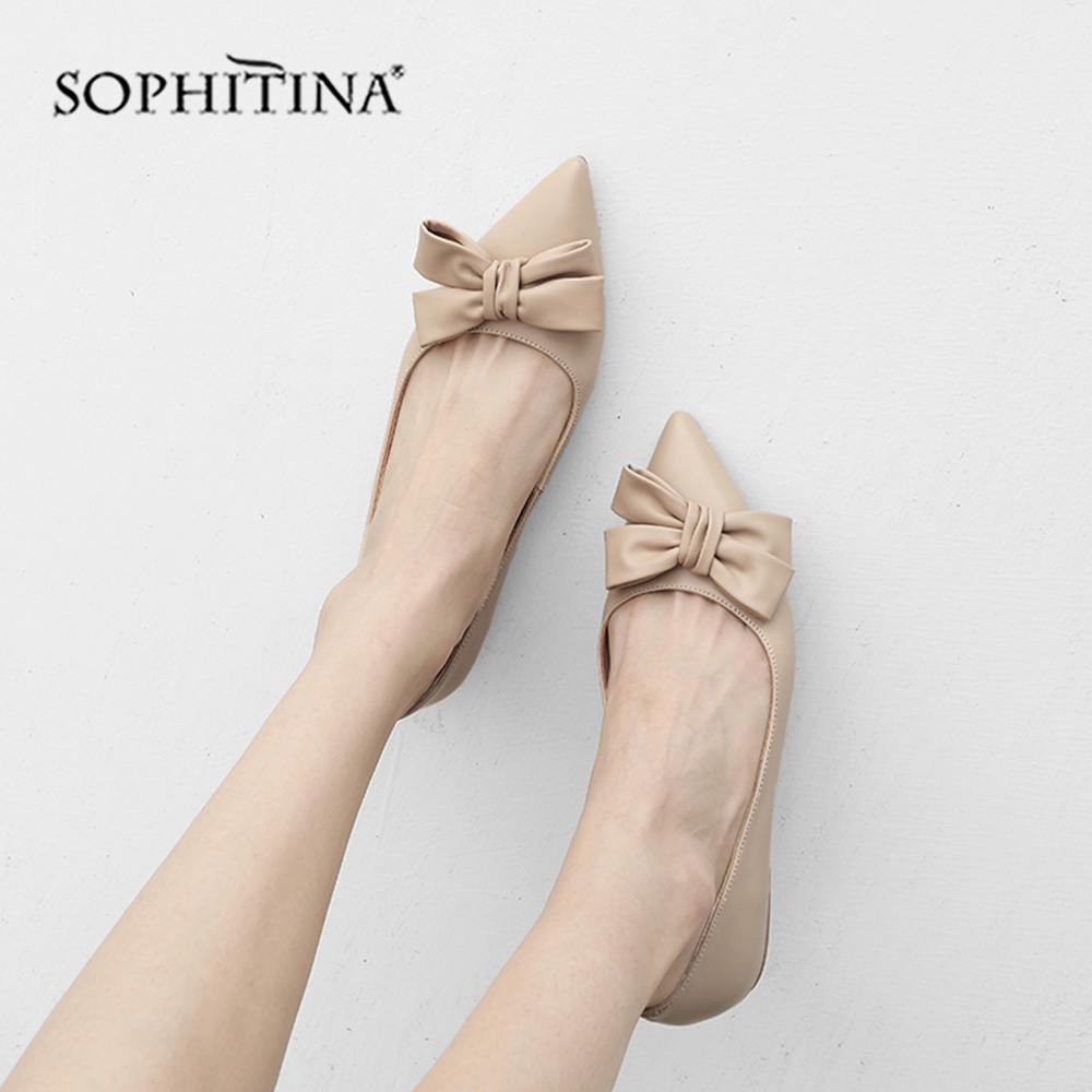 SOPHITINA High Quality Genuine Leather Flats Lovely Butterfly knot Slip on Solid Shoes Sexy Pointed Toe
