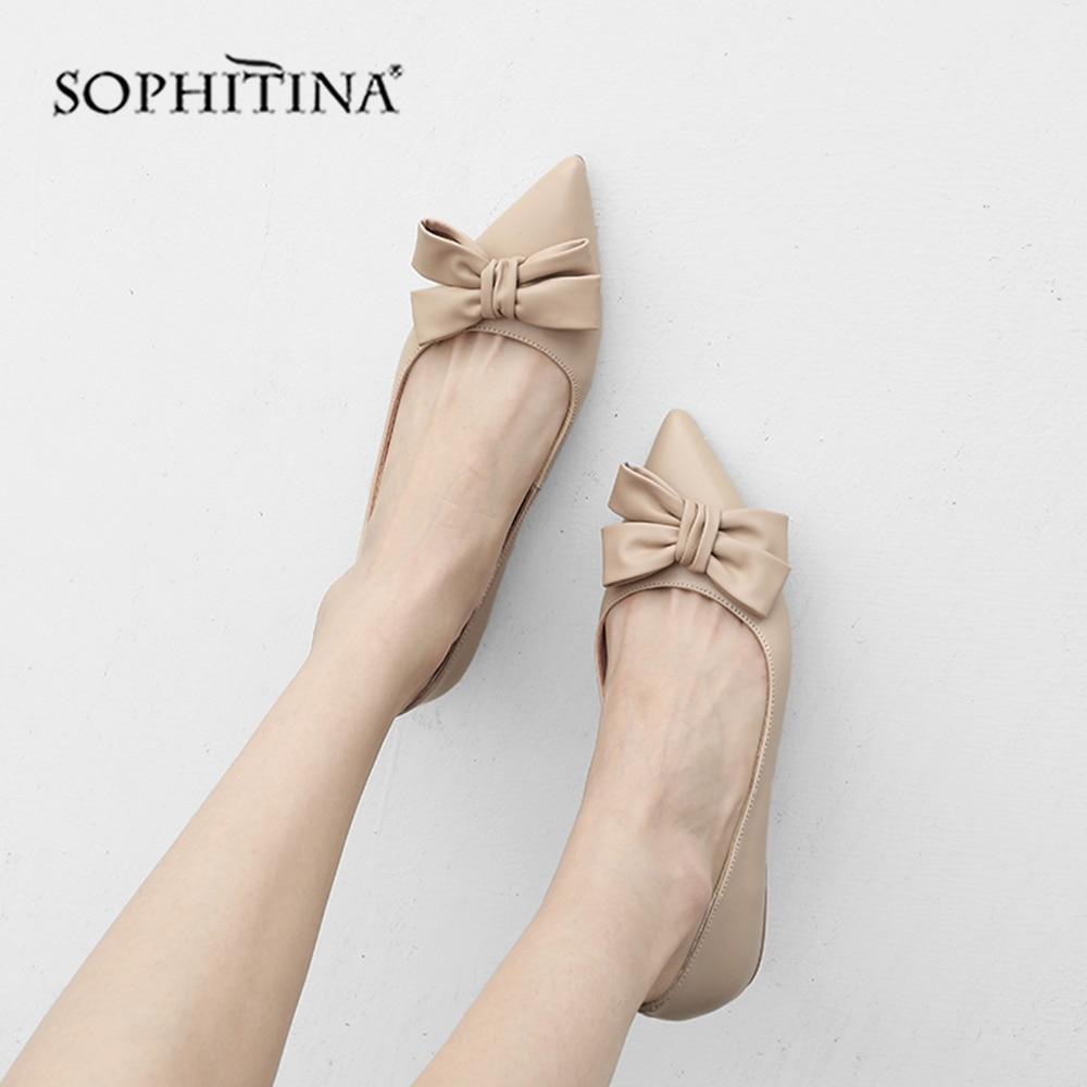 SOPHITINA haute qualité en cuir véritable appartements belle papillon-noeud sans lacet chaussures solides Sexy bout pointu décontracté femme appartements MO161