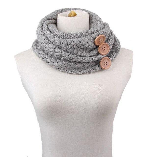 Feitong мода зима согреться шарф два круга 3 кнопки ворота шерстей клобук-образным вырезом кольцо шарф шаль для женщин новые
