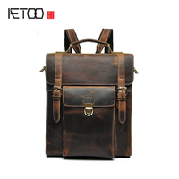 AETOO Leather Goods Men Leather Backpack Crazy Horse Skin Male Package Retro College Wind Students Trend