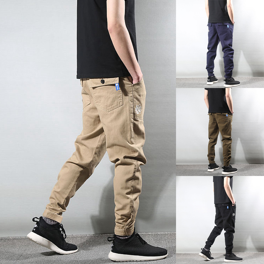 Fashion Streetwear Men   Jeans   Loose Fit Embroidery Casual Cargo Pants Men Harem Trousers Slack Bottom Hip Hop Joggers Pants Homme