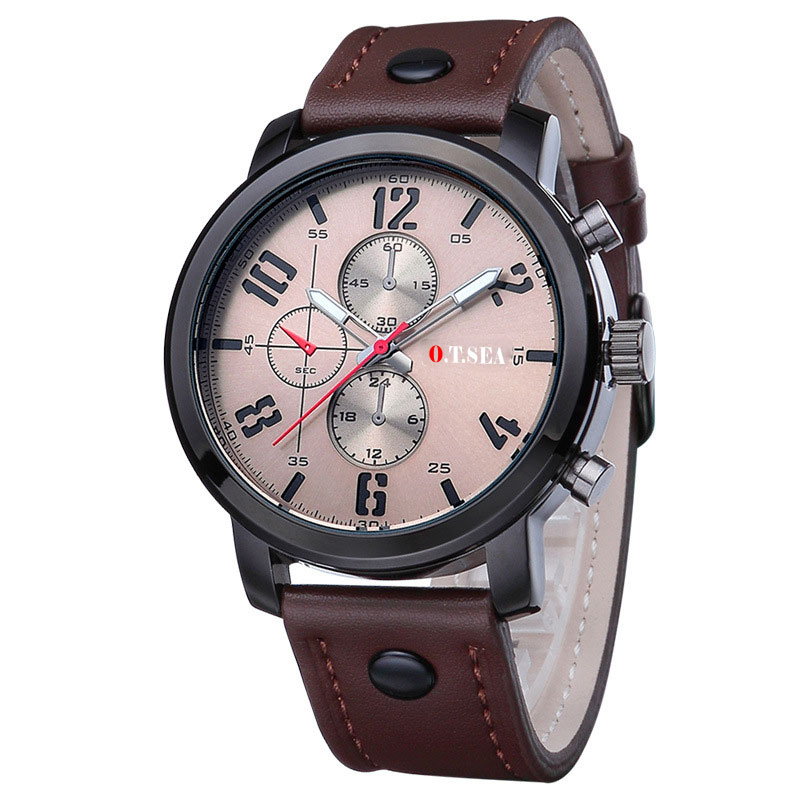 Watch Military Style with Leather Strap Coffee