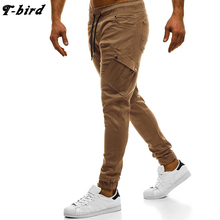 T-Bird Joggers Pants Men Streetwear Solid Cargo Pants Pocket decoratio Hip Hop Men Joggers Sweatpants High Quality Male Pants