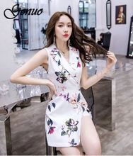 Genuo New Women Vintage Flora Printed Turn Down Collar Playsuits Buckle Sashes Waist Short Jumpsuit