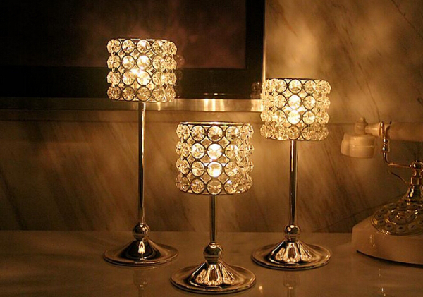 3pcs Set Luxury Wedding Arrangements Exquisite Candlestick Home Decor Silver Candle Holders
