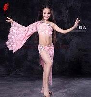 Роскошные девушки танец живота одежда камни кружева одного рукава топ + юбка 2 шт. танец живота костюм для детей танец живота набор производи