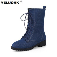 2017 Fashion Autumn Boots Female Shoes Casual Denim Boots Casual Shoes Half Boots Women Platform Low Heels Shoes Women