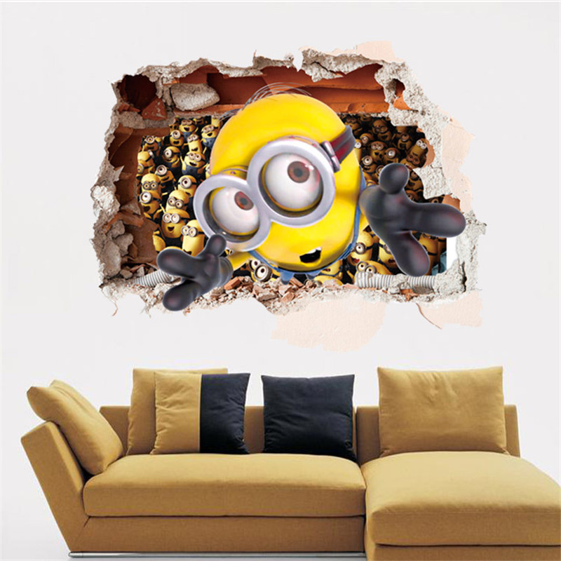 1pc 60x90cm Minions Despicable Me 2 Wall Stickers Wall Decals Adesivos De  Paredes for kids Cartoon