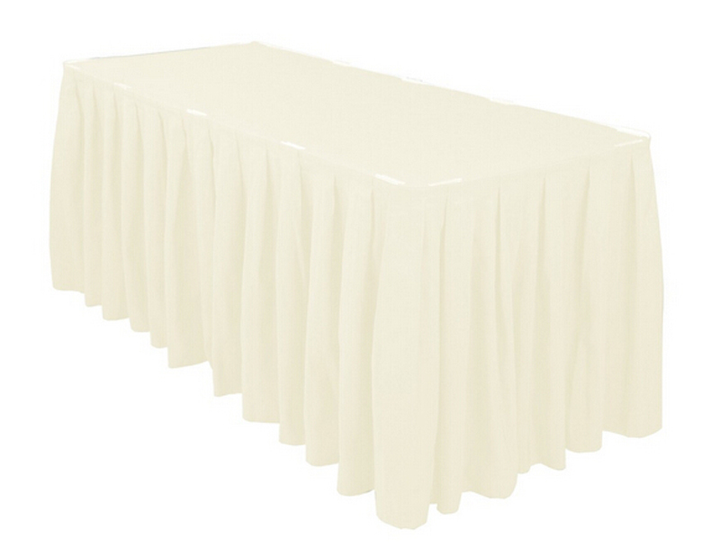 HK DHL Ivory 14 ft./420cm Accordion Pleat Polyester Rectangular Table Skirt for Wedding, 5/Pack