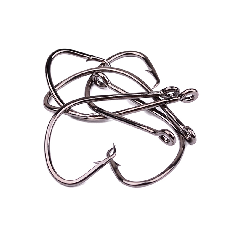 50pc/lot Fishhooks Steel Alloy Outdoor Fishing Hooks Black Color Octopus/circle Sports Circle Jig Big 6 Styles Bass Fish Hook High Resilience