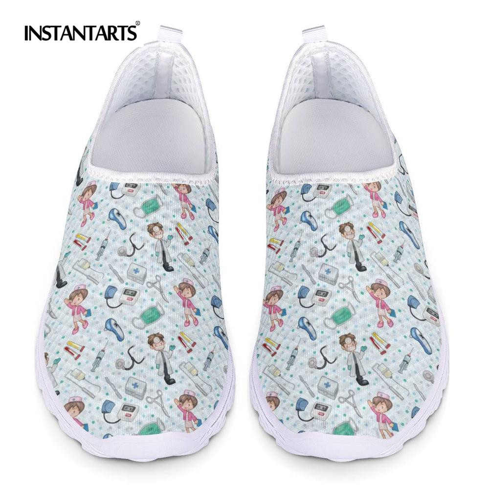 INSTANTARTS Funny 3D Cartoon Dentist/Tooth Pattern Female Black Summer Sneakers Lightweight Mesh Air Flat Shoes Walking Footwear
