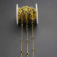 6mm,Wire Wrapped Golden Plated Copper Fashion Chain Jewelry,Black Glass Faceted Square Shape Chains for Necklace