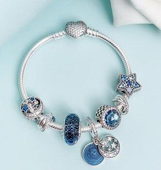 Pulseras de cadena de plata de ley 925 originales estrella brillante con cuentas de cristales multicolor pulsera de Pandora para mujer joyería Diy