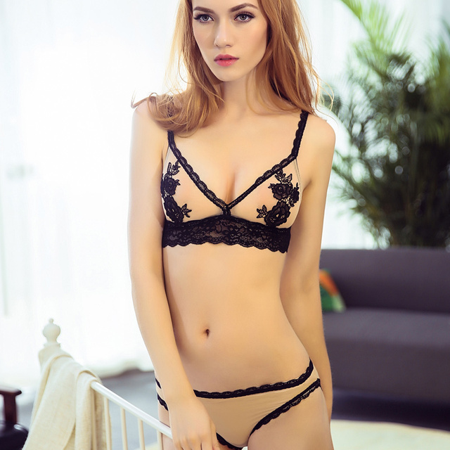Women Bra   Brief Sets Embroidery Floral Lace Bralette Set Bra and Panty  Wireless Thin Demi Bra Sexy Lingerie See Though Bras 0203305ef