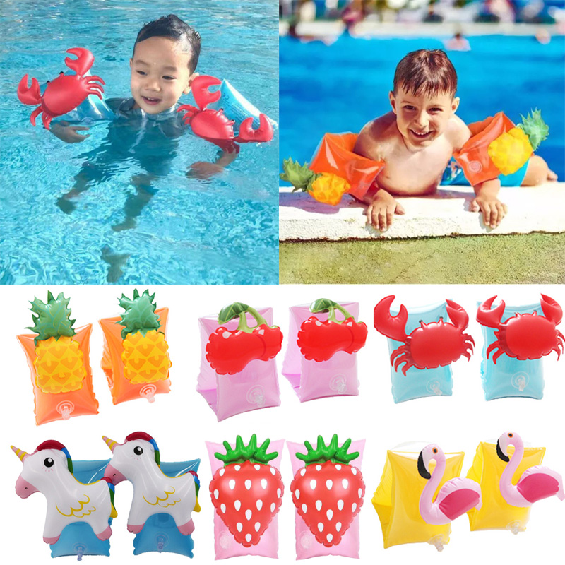 Vertvie Baby Arm Swimming Ring Child Inflatable Pool Float Cute Animals Arm Ring Safety Training Swimming Circle Float Ring