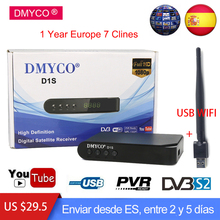 DVB-S/S2 Spain Satellite Receiver +1 Year Europe 7 clines Portugal Receptor Support Clines Dollby,AC3,USB WIFI Better than V7 HD