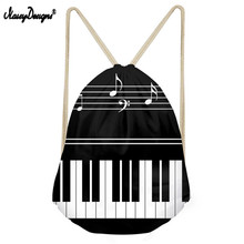 Noisydesigns Casual Men Small Backpack Music Notes with Piano Keyboard Mens Mochila Drawstring Bags for Kids Boys School