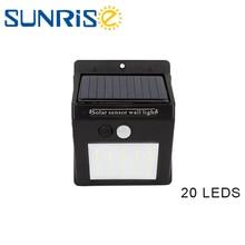 20 LED Waterproof PIR Motion Sensor Wireless Rechargeable Solar Light Bulb Outdoor Garden Decoration Wall Lamp недорого