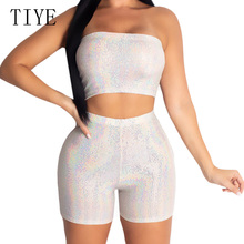 TIYE Fashion Glitter Two Piece Set Strapless Top and Short Pants Women Summer Sexy Off Shoulder Playsuit Elegant Party Club Wear