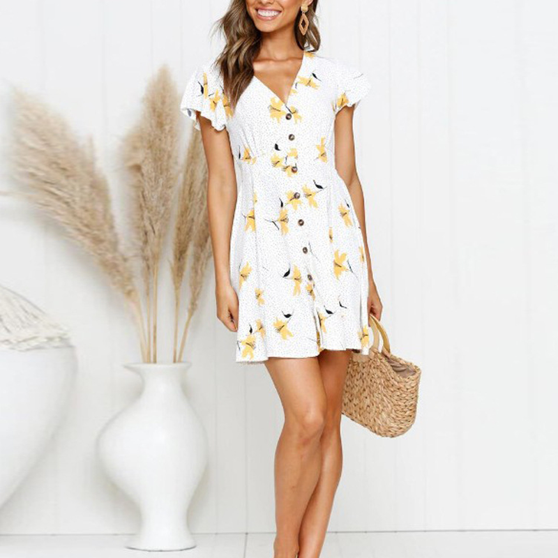 Women's Clothing Knowledgeable Wepbel 2019 New Sexy Casual Party Women Dress Floral Ruffled Sleeves Front-breasted Beach Holiday Print V-neck Mini Dress Excellent In Cushion Effect