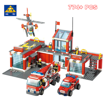 KAZI 774pcs Fire Fighting City Fire Station Building Block Toys Set Construction Truck Figures Helicopter Compatible All Brand
