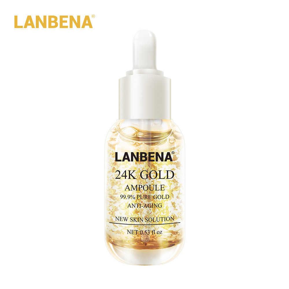 LANBENA 24K Золотая Сыворотка для лица, против старения, для удаления морщин, ампульная эссенция, увлажняющая, отбеливающая, уход за кожей лица, красота, 15 мл
